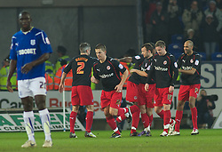CARDIFF, WALES - Tuesday, February 1, 2011: Cardiff City's players look dejected after Reading score the first goal to make it 1-0 during the Football League Championship match at the Cardiff City Stadium. (Photo by Gareth Davies/Propaganda)