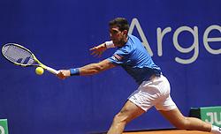 February 16, 2018 - Buenos Aires, Argentina - Federico Delbonis during a tennis match against Guillermo Garcia Lopez in Argentina Tennis Open in Buenos Aires on February 16,2018. (Credit Image: © Gabriel Sotelo/NurPhoto via ZUMA Press)