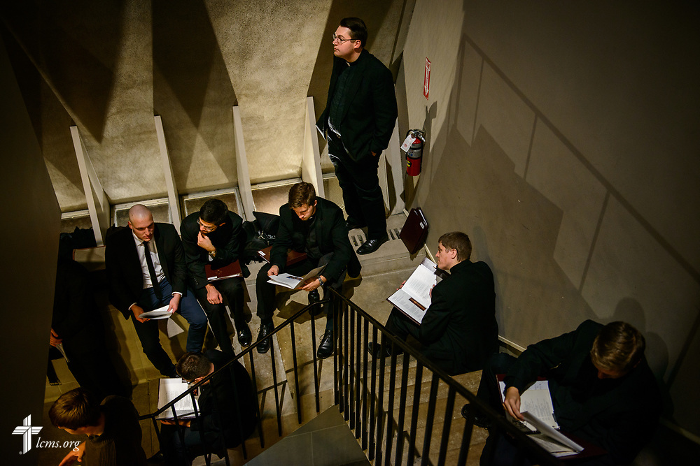 In a packed chapel, seminarians stand in the stairwells during the 500th Anniversary of the Reformation service on Tuesday, Oct. 31, 2017, at Concordia Theological Seminary, Fort Wayne, Ind. LCMS Communications/Erik M. Lunsford
