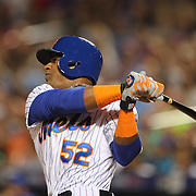 Yoenis Cespedes, New York Mets, batting while striking out in the 6th inning during the New York Mets Vs Washington Nationals. MLB regular season baseball game at Citi Field, Queens, New York. USA. 1st August 2015. (Tim Clayton for New York Daily News)