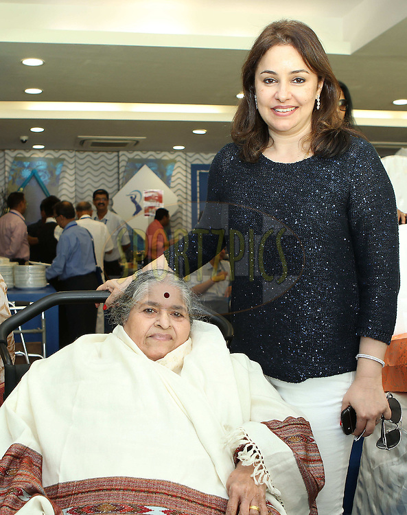 Mrs Rajni Tendulkar and MrsAnjali Tendulkar during day one of the second Star Sports test match between India and The West Indies held at The Wankhede Stadium in Mumbai, India on the 14th November 2013<br /> <br /> This test match is the 200th test match for Sachin Tendulkar and his last for India.  After a career spanning more than 24yrs Sachin is retiring from cricket and this test match is his last appearance on the field of play.<br /> <br /> <br /> Photo by: Ron Gaunt - BCCI - SPORTZPICS<br /> <br /> Use of this image is subject to the terms and conditions as outlined by the BCCI. These terms can be found by following this link:<br /> <br /> http://sportzpics.photoshelter.com/gallery/BCCI-Image-Terms/G0000ahUVIIEBQ84/C0000whs75.ajndY