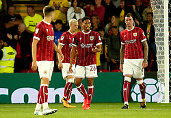 Zak Vyner of Bristol City and his teammates cut dejected figures after conceding a goal to Etienne Capoue of Watford - Mandatory by-line: Robbie Stephenson/JMP - 22/08/2017 - FOOTBALL - Vicarage Road - Watford, England - Watford v Bristol City - Carabao Cup