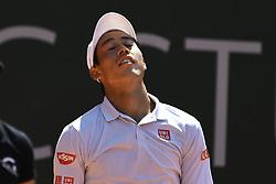 GENEVA, May 27, 2017  Kei Nishikori of Japan reacts during the men's semifinal against Mischa Zverev of Germany at the Geneva Open ATP 250 Tennis tournament, in Geneva, Switzerland, May 26, 2017. Mischa Zverev won 2-1. (Credit Image: © Alain Grosclaude/Xinhua via ZUMA Wire)