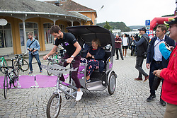 The Norwegian Prime Minister arrives at the sign-on of Stage 1 of the Ladies Tour of Norway - a 101.5 km road race, between Halden and Mysen on August 18, 2017, in Ostfold, Norway. (Photo by Balint Hamvas/Velofocus.com)