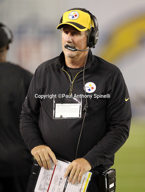 Pittsburgh Steelers defensive coordinator Keith Butler looks on from the sideline during the 2015 NFL week 5 regular season football game against the San Diego Chargers on Monday, Oct. 12, 2015 in San Diego. The Steelers won the game 24-20. (©Paul Anthony Spinelli)