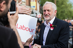 © Licensed to London News Pictures. 07/06/2017. London, UK. JEREMY CORBYN greets Labour supporters in Watford after delivering a speech the day before Britain heads to the polls for the General Election. Photo credit: Rob Pinney/LNP
