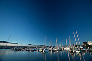 Sunrise On Cairns Harbor With Low Cloud In The Background. Cairns, Queensland, Australia. 03/06/2012. Photo By Lucas Wroe.