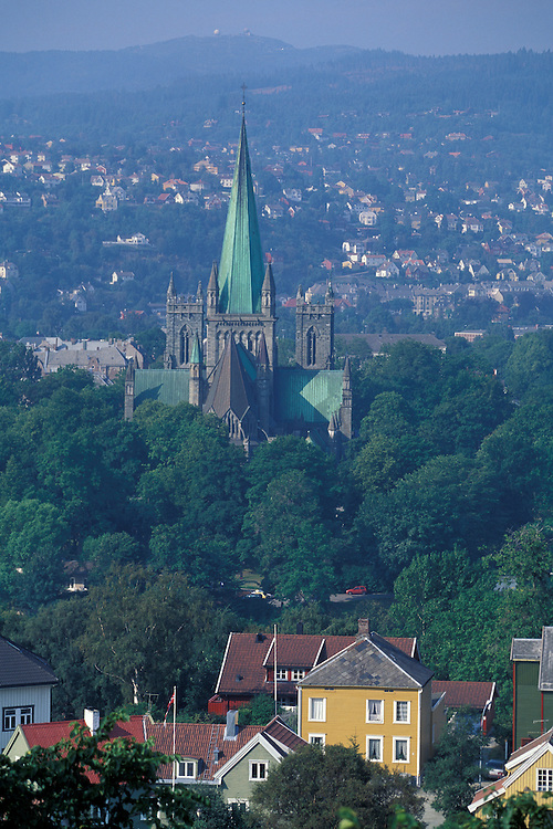 Europe, Norway. Nidaros Cathedral seen from above downtown Trondheim.