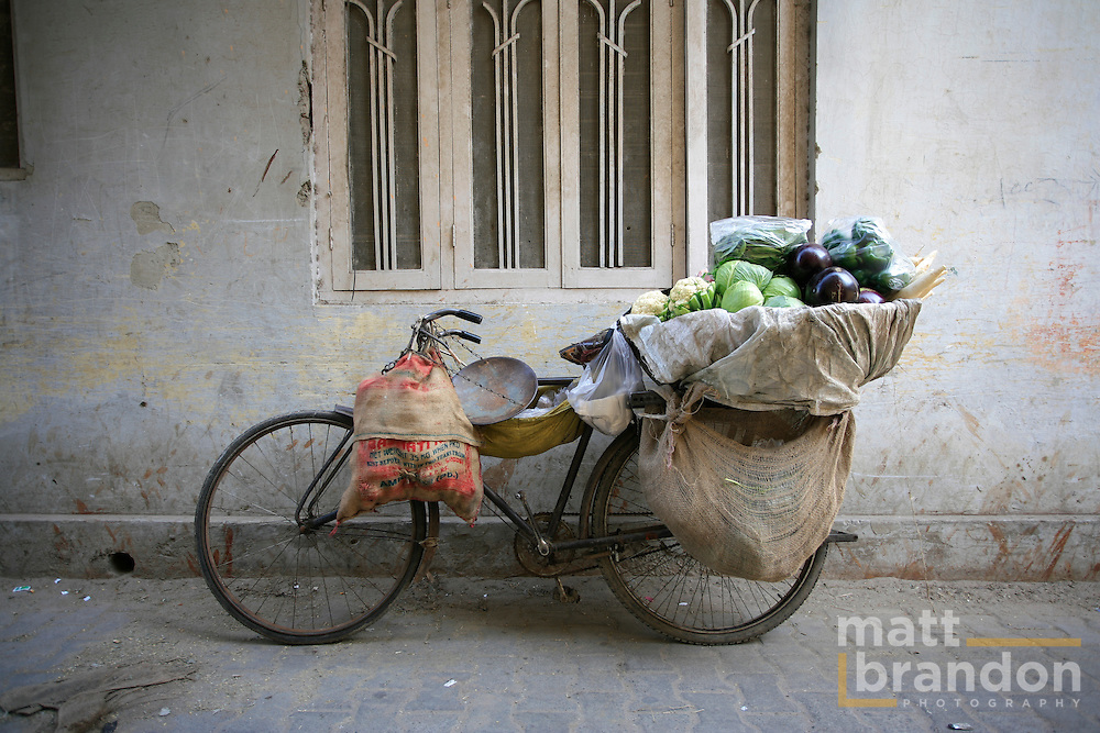 Bicycle on a wall in Nizamuddin
