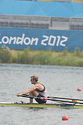 Eton Dorney, Windsor, Great Britain,..2012 London Olympic Regatta, Dorney Lake. Eton Rowing Centre, Berkshire[ Rowing]...Description;  NZL M1X Mahe DRYSDALE,  moves away from the start in his heat of the Men's Single Sculls,  Dorney Lake. 12:13:33  Friday  12:13:33   [Mandatory Credit: Peter Spurrier/Intersport Images].