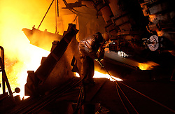 SERAING, BELGIUM - APRIL-23-2005 - Blast furnace number 6 at the Arcelor steel plant in Seraing, near Liege will be permanently closed in April 2005. The last remaining blast furnace at the plant will be closed in 2009. The old style blast furnaces are being phased out and replaced with newer technology marking the end of an era in the steel industry. (PHOTO © JOCK FISTICK)
