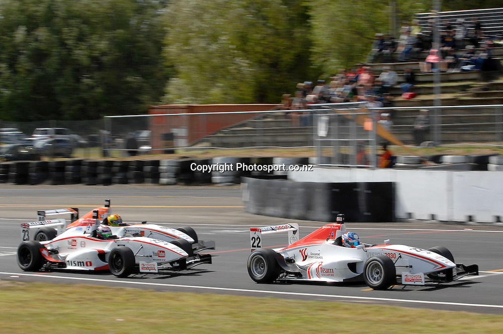 Andrew Tang from Singapore in his Toyota FT40 leads Jann Mardenborough (UK), and James Munro (Christchurch) during the Grand Prix.