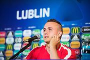 LUBLIN, POLEN 2017-06-21<br /> Stanislav Lobotka under Slovakiska U21 landslagets MD-1 presskonferens p&aring; Arena Lublin, den 21 juni i Lublin, Polen.<br /> Foto: Nils Petter Nilsson/Ombrello<br /> Fri anv&auml;ndning f&ouml;r kunder som k&ouml;pt U21-paketet.<br /> Annars Betalbild.<br /> ***BETALBILD***
