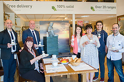 Celebration Breakfast with Man of Steel at the opening of the Oak Furniture Land Rotherham Store. The cake will be donated to Rotherham Hospice who will use it to help raise funds<br /> <br /> 3 June 2015<br />  Image &copy; Paul David Drabble <br />  www.pauldaviddrabble.co.uk