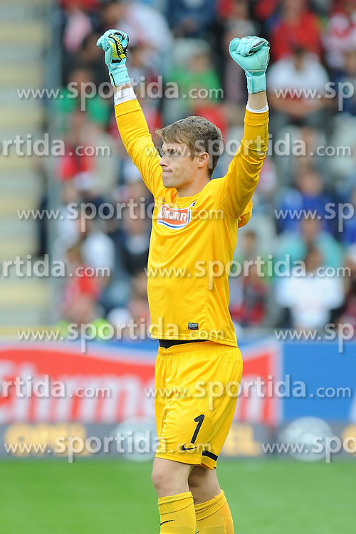 27.09.2015, Schwarzwald Stadion, Freiburg, GER, 2. FBL, SC Freiburg vs FSV Frankfurt, 9. Runde, im Bild Jubel bei Alexander Schwolow (Torwart SC Freiburg) nach dem Spiel // during the 2nd German Bundesliga 9th round match between SC Freiburg and FSV Frankfurt at the Schwarzwald Stadion in Freiburg, Germany on 2015/09/27. EXPA Pictures &copy; 2015, PhotoCredit: EXPA/ Eibner-Pressefoto/ Laegler<br /> <br /> *****ATTENTION - OUT of GER*****
