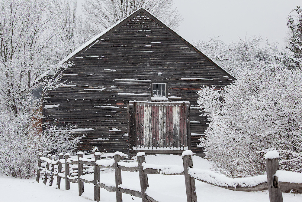 An old barn in Jackson New Hampshire in the winter