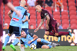 January 8, 2018 - Brisbane, QUEENSLAND, AUSTRALIA - Massimo Maccarone of the Roar (9, right) is fouled by Jordy Buijs of Sydney (5) during the round fifteen Hyundai A-League match between the Brisbane Roar and Sydney FC at Suncorp Stadium on Monday, January 8, 2018 in Brisbane, Australia. (Credit Image: © Albert Perez via ZUMA Wire)