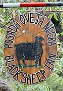 Black Sheep Inn (Posada Oveja Negra) sign, Chugchilan, Ecuador, on the Lago Quilotoa driving loop, South America.