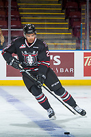 KELOWNA, BC - NOVEMBER 11: Lukus MacKenzie #25 of the Red Deer Rebels warms up with the puck against the Kelowna Rockets  at Prospera Place on November 11, 2017 in Kelowna, Canada. (Photo by Marissa Baecker/Getty Images)