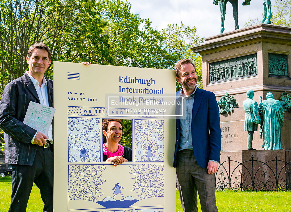 Pictured: International Book Festival Launch. Charlotte Square Gardens, Edinburgh, Scotland, United Kingdom, 06 June 2019. Nick Barley, Director of Edinburgh International Book Festival, Janet Smyth, Children & Education Programme  & Roland Gulliver, Associate Director launch the 2019 Book Festival programme.<br /> <br /> Sally Anderson | EdinburghElitemedia.co.uk