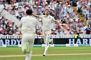 Wicket - James Anderson of England celebrates taking the wicket of Ravichandran Ashwin of India during second day of the Specsavers International Test Match 2018 match between England and India at Edgbaston, Birmingham, United Kingdom on 2 August 2018. Picture by Graham Hunt.