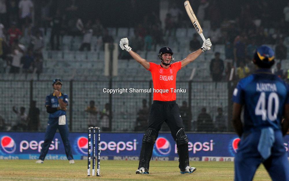 England's Alex Hale celebrates - England v Sri Lanka - ICC World Twenty20, Bangladesh 2014. 28 March 2014, Zahur Ahmed Chowdhury Stadium, Chittagong. Photo: Shamsul hoque Tanku/www.photosport.co.nz
