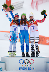 18-02-2014 SKIEN: OLYMPIC GAMES: SOTSJI<br /> (L-R) silver Medalist Anna Fenninger of Austria, olympic Champion Tina Maze of Slovenia, bronze Medalist Viktoria Rebensburg of Germany during the Flower Ceremony of ladies Giant Slalom to the Olympic Winter Games Sochi 2014 <br /> ***NETHERLANDS ONLY***<br /> ©2014-FotoHoogendoorn.nl