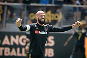 Los Angeles FC defender Laurent Ciman (23) celebrates during a MLS soccer match in Los Angeles, Saturday, May 5, 2018. (Eddie Ruvalcaba/Image of Sport)