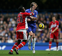 Photo: Lee Earle.<br /> Chelsea v Middlesbrough. The Barclays Premiership.<br /> 03/12/2005. Middlesbrough's Yakubu (L) clashes with Damien Duff.