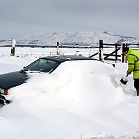 Snow drifts on the B9097 Crook of Devon to Scotlandwell road, near Kinross blocking many roads and trapping cars under many feet of snow<br />