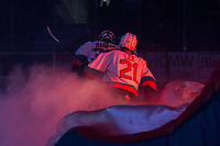 KELOWNA, BC - JANUARY 4: Jake Lee #21 of the Kelowna Rockets enters the ice against the Vancouver Giants  at Prospera Place on January 4, 2020 in Kelowna, Canada. (Photo by Marissa Baecker/Shoot the Breeze)