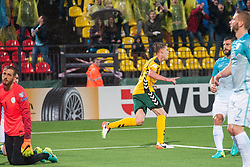Vykintas Slivka of Lithuania scored second goal for Lithuania vs Jan Oblak of Slovenia during football match between National teams of Lithuania and Slovenia in Round #1 of FIFA World Cup Russia 2018 qualifications in Group F, on September 4, 2016 in LFF Stadium Vilnius, Lithuania. Photo by Robertas Dackus / Sportida