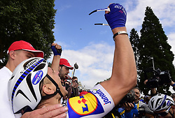 July 2, 2017 - Liege, Belgique - LIEGE, BELGIUM - JULY 2 : KITTEL Marcel (GER) Rider of Quick-Step Floors Cycling team jubilate winning during stage 2 of the 104th edition of the 2017 Tour de France cycling race, a  stage of 203 kms between Dusseldorf and Liege on July 02, 2017 in Liege, Belgium, 2/07/2017 (Credit Image: © Panoramic via ZUMA Press)