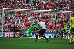 Middlesbrough Daniel Ayala heads of Norwich shot on target, Middlesbrough v Norwich, Sky Bet Championship, Play Off Final, Wembley Stadium, Monday  25th May 2015