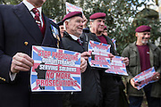 UNITED KINGDOM, London: 05 January 2016 Army veterans parade outside of Downing Street this morning in protest against the governments decision to investigate possible human rights abuses of the British Military in Iraq. Veterans gathered in Whitehall Gardens and marched to 10 Downing Street.  Rick Findler / Story