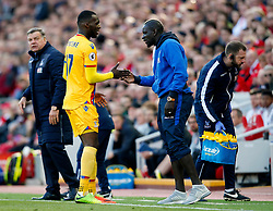 Christian Benteke of Crystal Palace celebrates with team mate Mamadou Sakho, both former Liverpool players - Mandatory by-line: Matt McNulty/JMP - 23/04/2017 - FOOTBALL - Anfield - Liverpool, England - Liverpool v Crystal Palace - Premier League