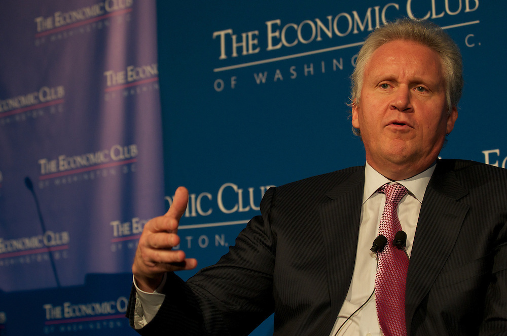 Jeffrey Immelt, CEO of GE addresses the members of the Economic Club of Washington and it's guests at the Mandarin Oriental Hotel in Washington DC