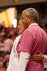 12 February 2012:  Mr & Mrs President Dr. Al Bowman during an NCAA women's basketball game Where the Bradley Braves lost to the Illinois Sate Redbirds 82-63.  It was Play 4Kay day in honor of the cancer research fund set up by Coach Kay Yow at Redbird Arena in Normal IL