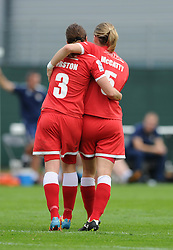 Bristol Academy Womens' Corinne Yorston celebrates her goal with Bristol Academy Womens' Grace McCatty  - Photo mandatory by-line: Dougie Allward/JMP - Mobile: 07966 386802 - 28/09/2014 - SPORT - Women's Football - Bristol - SGS Wise Campus - Bristol Academy Women's v Manchester City Women's - Women's Super League