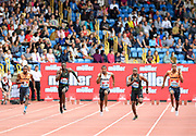 Christian Coleman (USA), second from right,  defeats Reece Prescod (GBR), second from left, to win the 100m, 9.938 to 9.939, during the Grand Prix Birmingham in an IAAF Diamond League meet in Birmingham, United Kingdom, Saturday, Aug. 18, 2018. From left: Noah Lyles (USA), Prescod, Yohan Blake (JAM), Coleman and Zharnel Hughes (GBR). (Jiro Mochizuki/mage of Sport)
