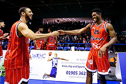 Christopher Taylor and Marcus Delpeche of Bristol Flyers celebrate victory over Worcester Wolves - Mandatory by-line: Robbie Stephenson/JMP - 05/10/2018 - BASKETBALL - University of Worcester Arena - Worcester, England - Bristol Flyers v Worcester Wolves - British Basketball League