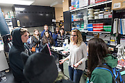 Shannon Johnson Williams, senior research technician at the Monterey  Bay Aquarium Research Institution explains lab operations to the students.