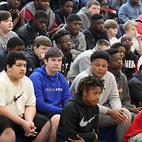 A group of Tupelo Middle School students attend a check presentation for Keshun Vasser on Wednesday morning. Keshun, 12, who was shot in the neck in September that paralyzed him from the waist down received a $50,000 check from fundraisers through the schools and his church. The money will go towards a wheelchair accessible van and other items to help with Keshun's daily needs.