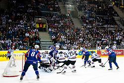 Robert Sabolic of Slovenia vs Martins Cipulis of Latvia during ice-hockey match between Slovenia and Latvia of Group G in Relegation Round of IIHF 2011 World Championship Slovakia, on May 5, 2011 in Orange Arena, Bratislava, Slovakia. Slovenia defeated Latvia 5-2. (Photo By Vid Ponikvar / Sportida.com)
