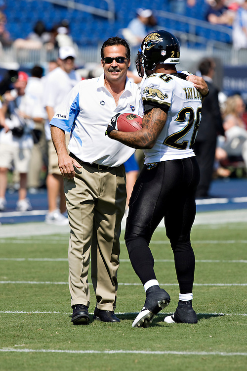 NASHVILLE, TN - SEPTEMBER 7:   Jeff Fisher of the Tennessee Titans talks with Fred Taylor #28 of the Jacksonville Jaguars at LP Field on September 7, 2008 in Nashville, Tennessee.  The Titans defeated the Jaguars 17-10.  (Photo by Wesley Hitt/Getty Images) *** Local Caption *** Jeff Fisher