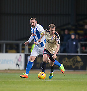 18th November 2017, Dens Park, Dundee, Scotland; Scottish Premier League football, Dundee versus Kilmarnock; Dundee's Paul McGowan races away from Kilmarnock's Kris Boyd