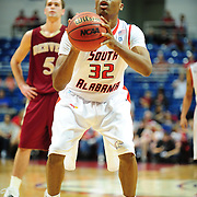 South Alabama's forward Javier Carter (32) shoots a free throw in the first half of play in Mobile, AL. Denver leads South Alabama 30-24 at halftime on January 7, 2012...