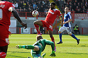 Gavin Tomlin blowing the chance to put Crawley 3-0 up during the Sky Bet League 1 match between Crawley Town and Oldham Athletic at the Checkatrade.com Stadium, Crawley, England on 6 April 2015. Photo by Michael Hulf.