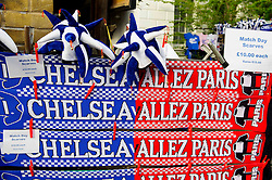 Half and half flags are displayed for sale outside the ground before the match - Photo mandatory by-line: Rogan Thomson/JMP - 07966 386802 - 08/04/2014 - SPORT - FOOTBALL - Stamford Bridge, London - Chelsea v Paris Saint-Germain - UEFA Champions League Quarter-Final Second Leg.