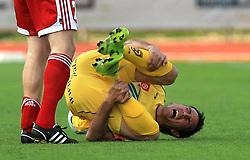 Zoran Pavlovic of Maribor injured at 1st semifinal match of Pokal Hervis between NK Interblock and NK Maribor at  ZAK Stadium, on April 15, 2009, in Ljubljana, Slovenia.  (Photo by Vid Ponikvar / Sportida)